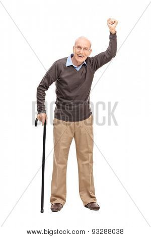 Full length portrait of a joyful senior gesturing with his hand in the air isolated on white background