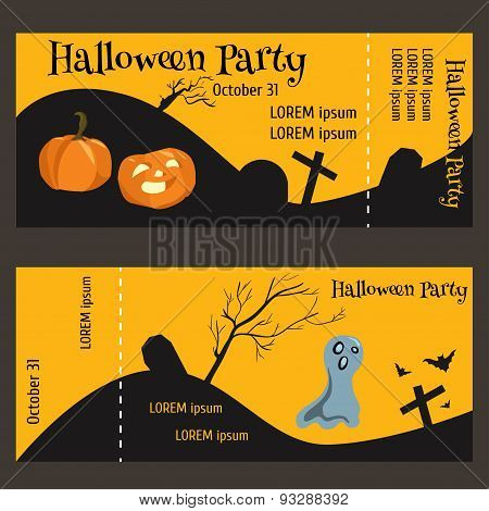 ticket for halloween-party two-sided with a tear-off portion. Illustrations cemetery ghost pumpkin bat dry wood. Template for your text