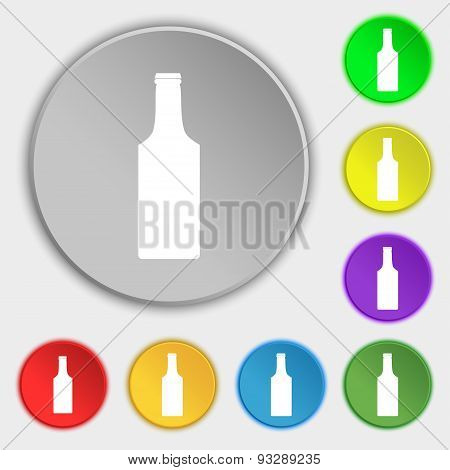 Bottle Icon Sign. Symbol On Five Flat Buttons. Vector