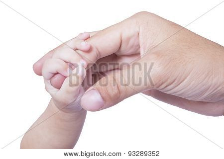 Adorable Baby Hand Holds Father Finger