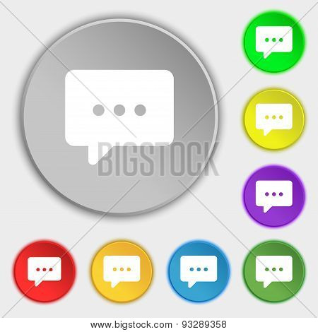 Cloud Of Thoughts Icon Sign. Symbol On Five Flat Buttons. Vector