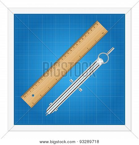 Blueprint And Ruler Instruments