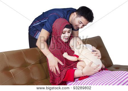 Attractive Muslim Family And Cute Baby