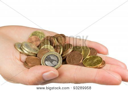 Hand Is Holding A Pile Of Euro Coins