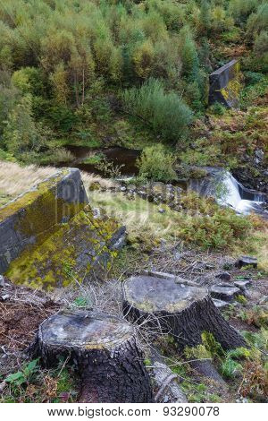 Nant-y-gro Dam, Blown Up During War For Testing Of Dambusters Bouncing Bomb.