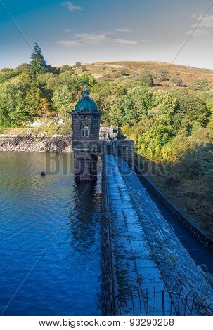 Top Of The Penygarreg Dam, Fall Autumn Evening Colors.