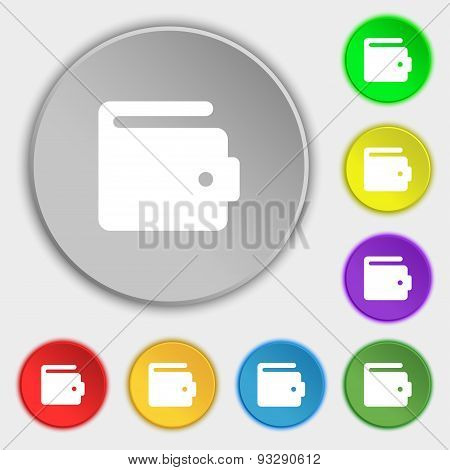 Purse Icon Sign. Symbol On Five Flat Buttons. Vector