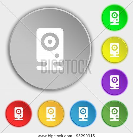 Web Cam Icon Sign. Symbol On Five Flat Buttons. Vector