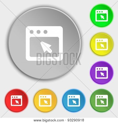 The Dialog Box Icon Sign. Symbol On Five Flat Buttons. Vector