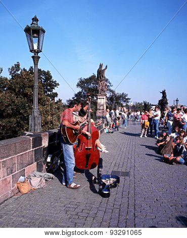 Musicians on Charles Bridge, Prague.