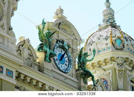 Architecture And Clock Of The Monte Carlo Casino.