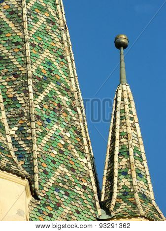 Top Of The Colourful Saxon Tower, Of The City Center Of Medias, Romania.
