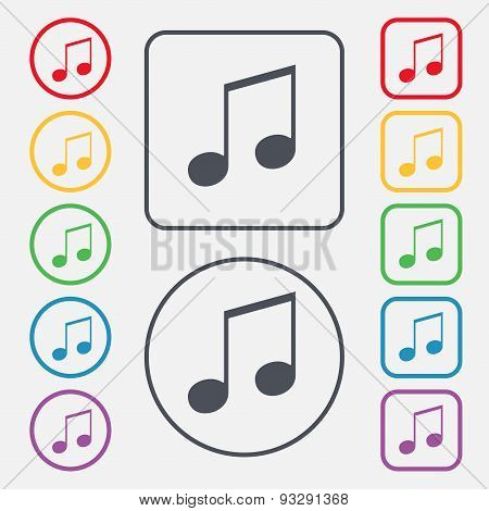 Musical Note, Music, Ringtone Icon Sign. Symbol On The Round And Square Buttons With Frame. Vector