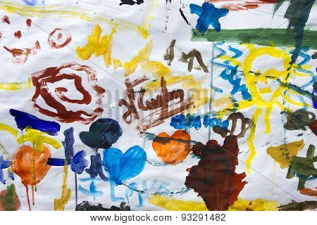 Children Drawings On Paper