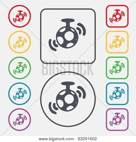 Mirror Ball Disco Icon Sign. Symbol On The Round And Square Buttons With Frame. Vector