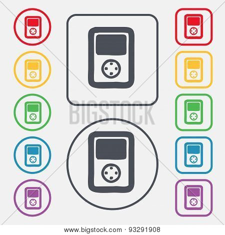 Tetris, Video Game Console Icon Sign. Symbol On The Round And Square Buttons With Frame. Vector