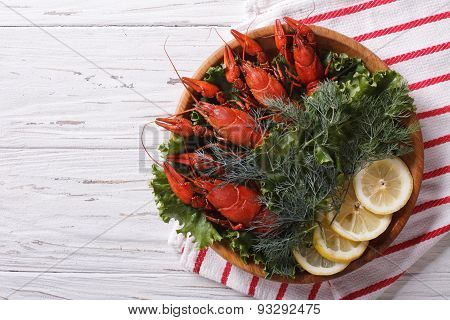 Crayfish With Herbs And Lemon On A Plate. Horizontal Top View