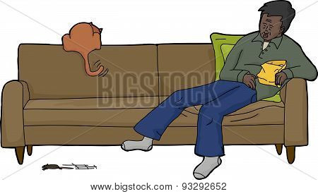 Isolated Sleeping Man With Excited Cat