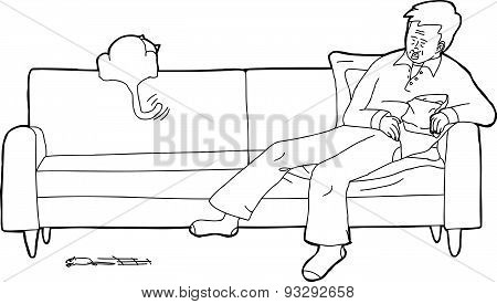 Sleeping Man With Cat On Sofa