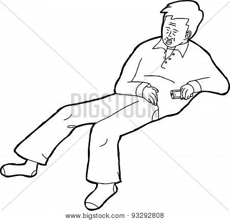 Outline Of Sleeping Adult With Remote Control