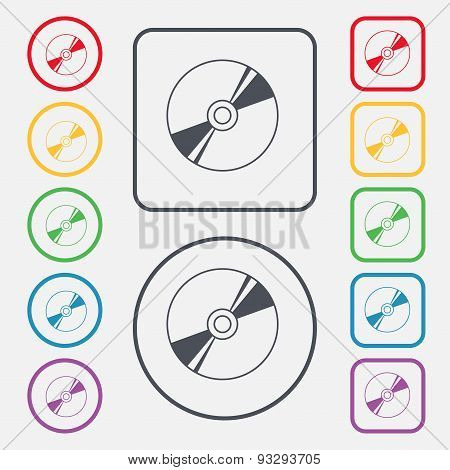 Cd, Dvd, Compact Disk, Blue Ray Icon Sign. Symbol On The Round And Square Buttons With Frame. Vector