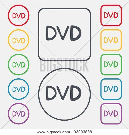 Dvd Icon Sign. Symbol On The Round And Square Buttons With Frame. Vector