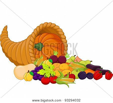 Cartoon Harvest cornucopia
