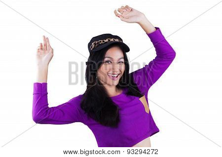 Happy Teenage Girl With Modern Style Clothes