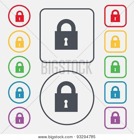 Closed Lock Icon Sign. Symbol On The Round And Square Buttons With Frame. Vector