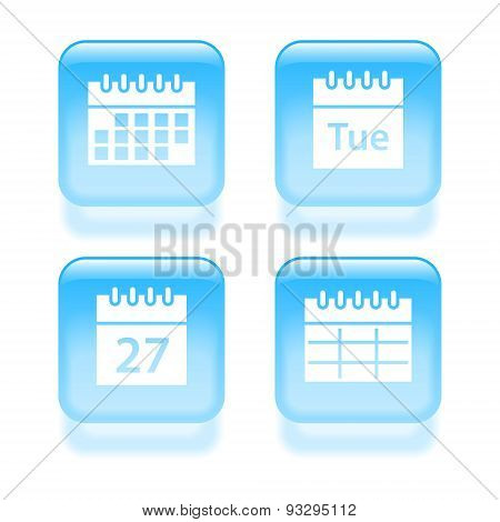 Glassy Calendar Icons. Vector Illustration