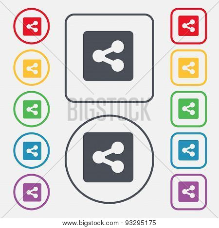 Share  Icon Sign. Symbol On The Round And Square Buttons With Frame. Vector