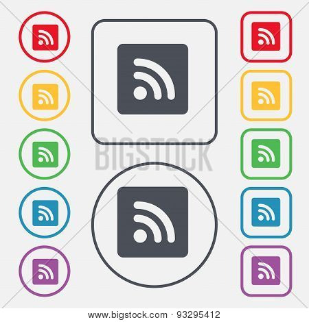 Rss Feed  Icon Sign. Symbol On The Round And Square Buttons With Frame. Vector