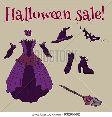 Witch Costume for Halloween. Set of items vector isolated on gradient background