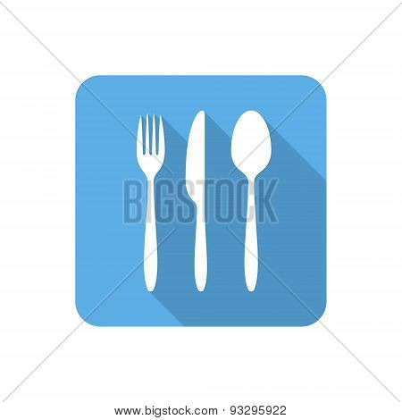 Flat Cutlery Set Icon With Long Shadow. Vector Illustration