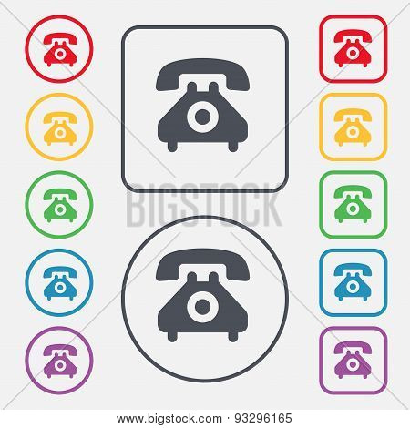 Retro Telephone Handset  Icon Sign. Symbol On The Round And Square Buttons With Frame. Vector