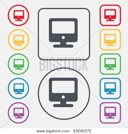 Monitor Icon Sign. Symbol On The Round And Square Buttons With Frame. Vector