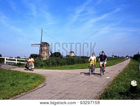 Windmills and cyclists, Kinderdijk.