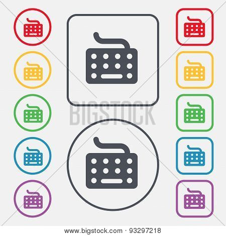 Keyboard Icon Sign. Symbol On The Round And Square Buttons With Frame. Vector