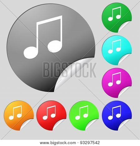Musical Note, Music, Ringtone Icon Sign. Set Of Eight Multi Colored Round Buttons, Stickers. Vector