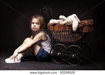 Little Girl Dark Background