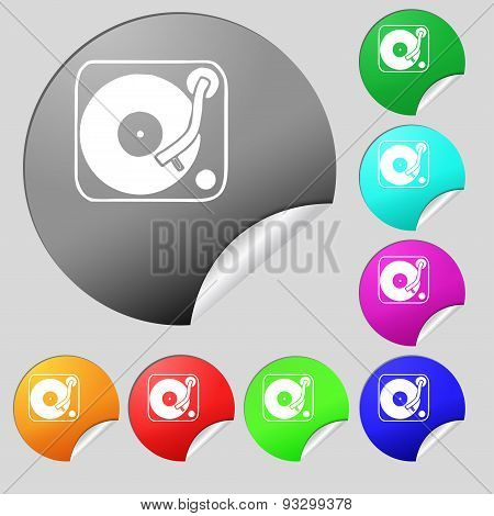 Gramophone, Vinyl Icon Sign. Set Of Eight Multi Colored Round Buttons, Stickers. Vector