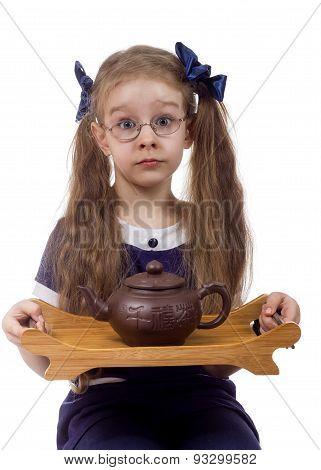Girl with tea kettle