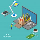 image of forklift  - Fast gift delivery flat isometric vector illustration - JPG