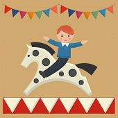 picture of merry-go-round  - Happy boy sitting on horse on merry - JPG