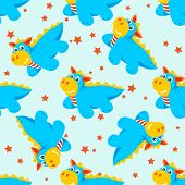 picture of dragon  - Stylized seamless pattern with cartoon dragons on a blue background - JPG