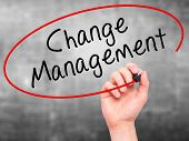 image of change management  - Man hand writing Change Management on visual screen - JPG