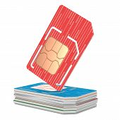 picture of micro-sim  - Stack of Sim Cards Illustration - JPG
