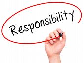 image of responsible  - Man hand writing Responsibility on visual screen - JPG