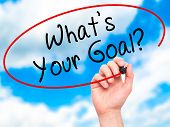 pic of goal setting  - Man hand writing Whats Your Goal on visual screen - JPG