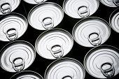 foto of hermetic  - Closeup of a group of aluminium cans - JPG